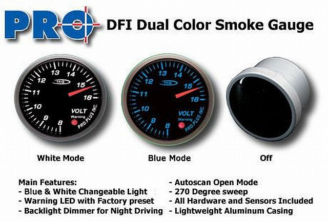 DFI Blue/White Smoke Lens Gauge 52mm - Volt (8-16V)