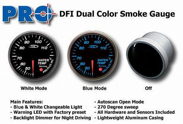 DFI Blue/White Smoke Lens Gauge 52mm - Water Temperature (Celc)