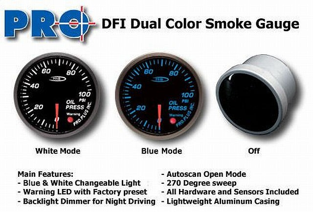 DFI Blue/White Smoke Lens Gauge 52mm - Oil Pressure (Bar)