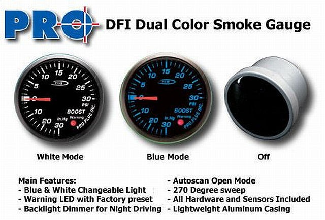 DFI Blue/White Smoke Lens Gauge 52mm - Turbo-Boost (Bar)