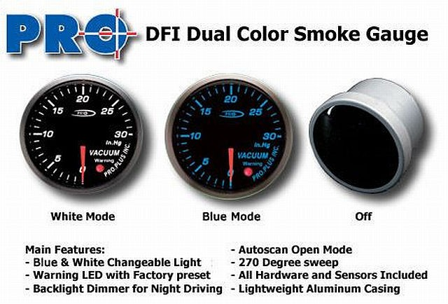 DFI Blue/White Smoke Lens Gauge 52mm - Vacuum (Bar)
