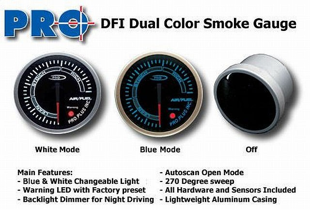 DFI Blue/White Smoke Lens Gauge 52mm - Air Fuel Ratio