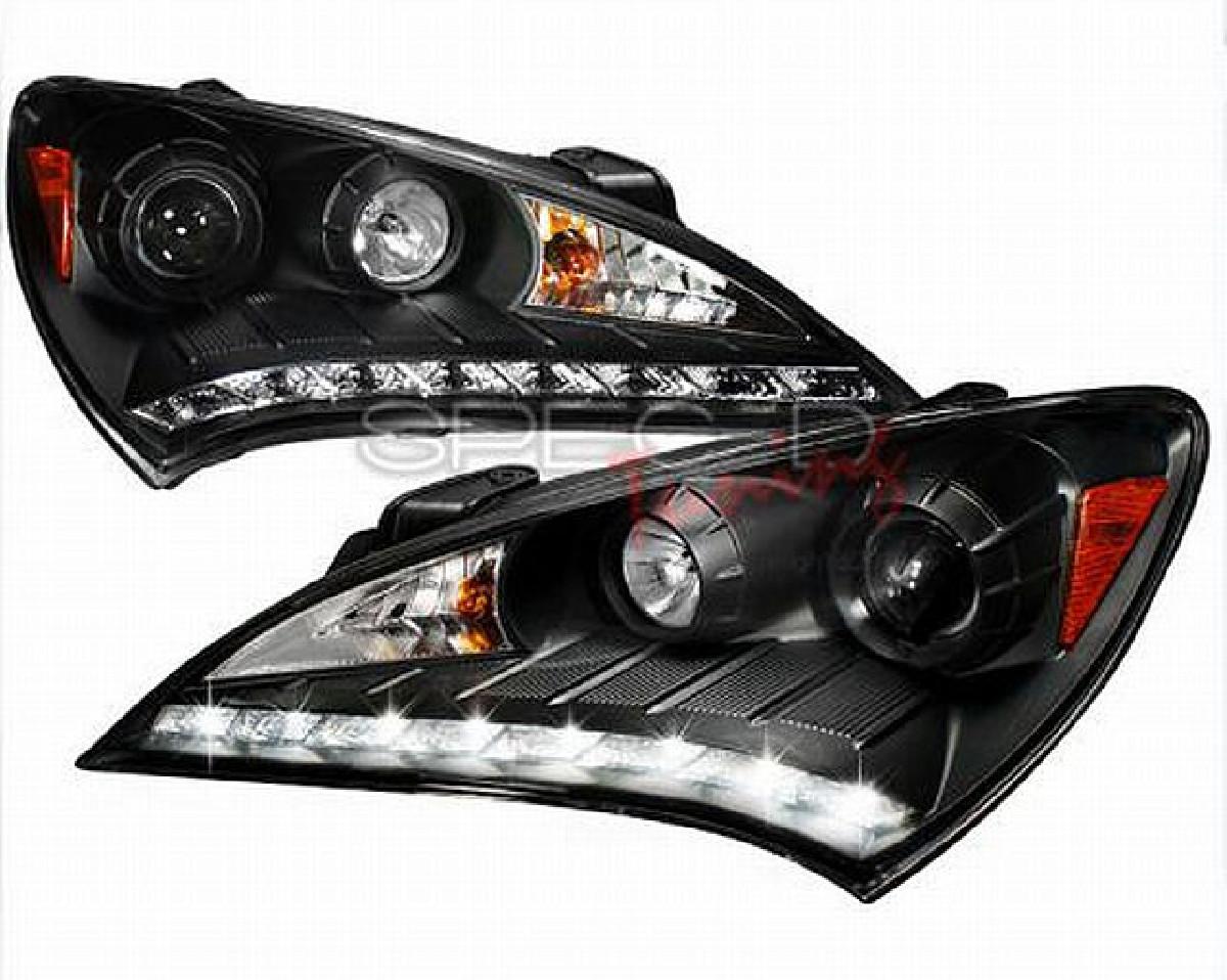 LED Tagfahrlicht Scheinwerfer Hyundai Genesis Coupe ab Bj. 08, schwarz