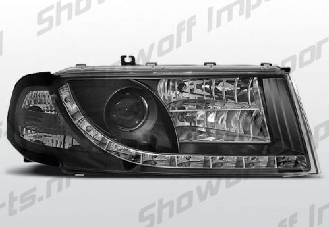 Skoda Octavia 01-04 R8 Style LED Headlights Black V1