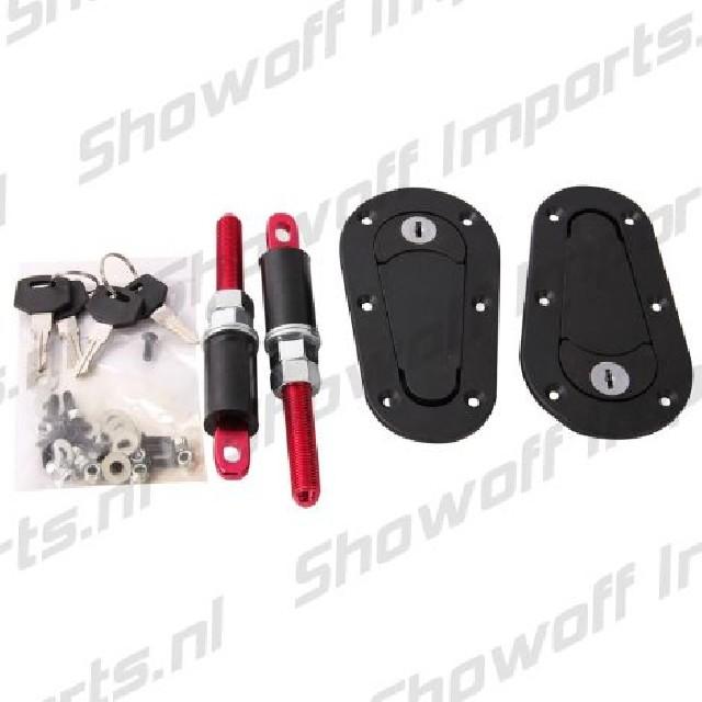 Universal Racing Plus Hood Fasteners With Lock Black/Red