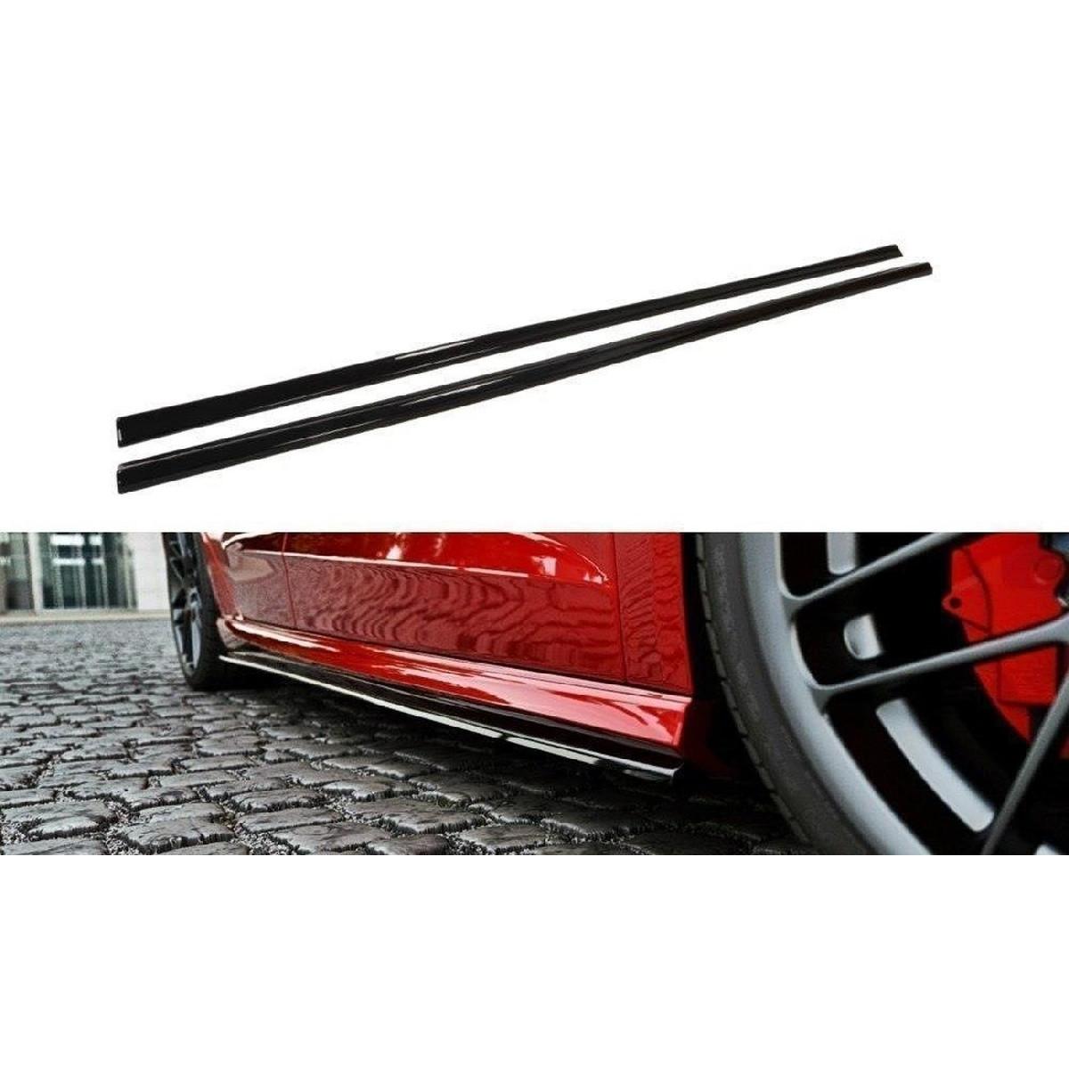 Seitenschweller Ansatz Cup Leisten für Audi S3 / A3 S-Line 8V / 8V FL Sportback schwarz matt
