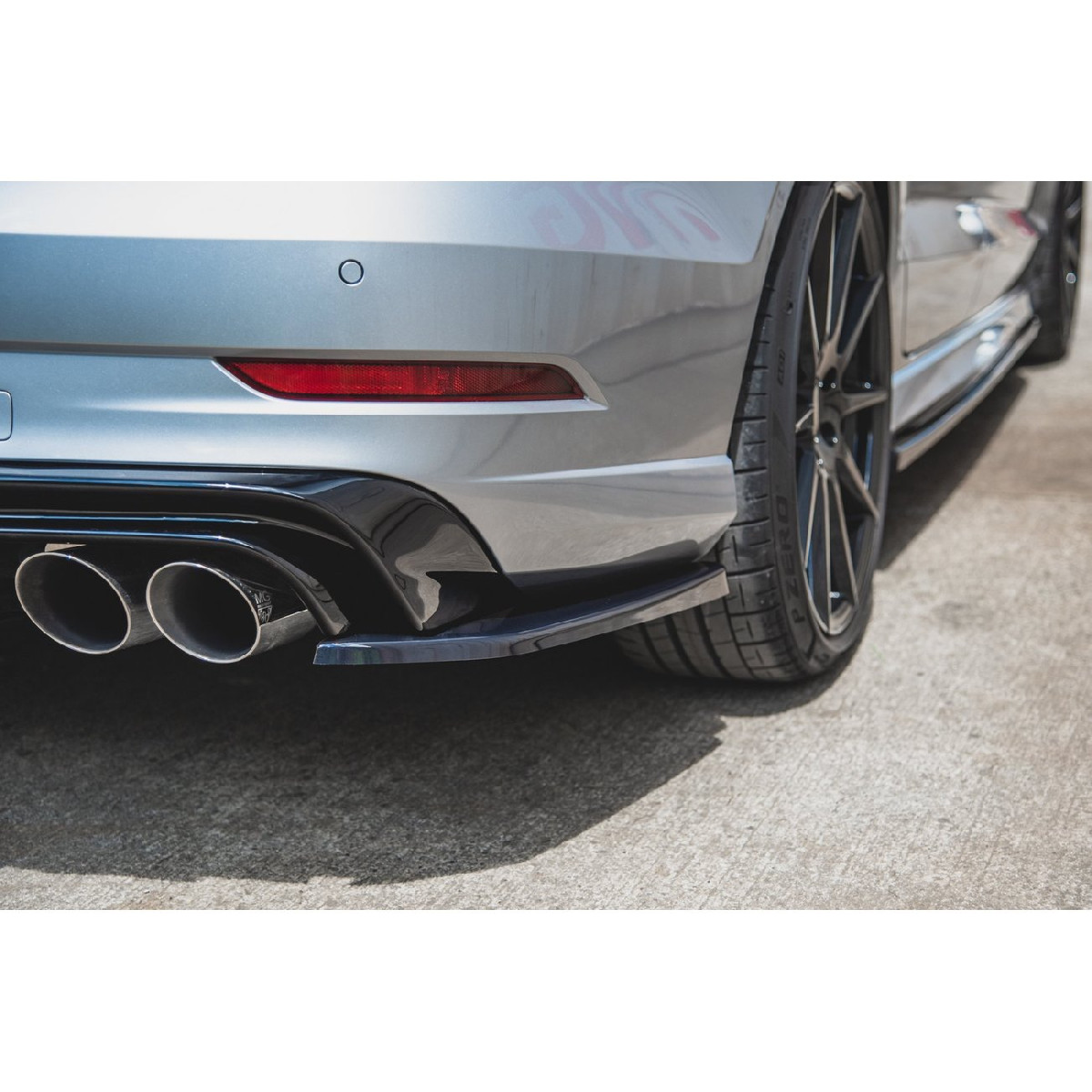 Heck Ansatz Flaps Diffusor V.2 für Audi S3 Limousine 8V Facelift schwarz matt