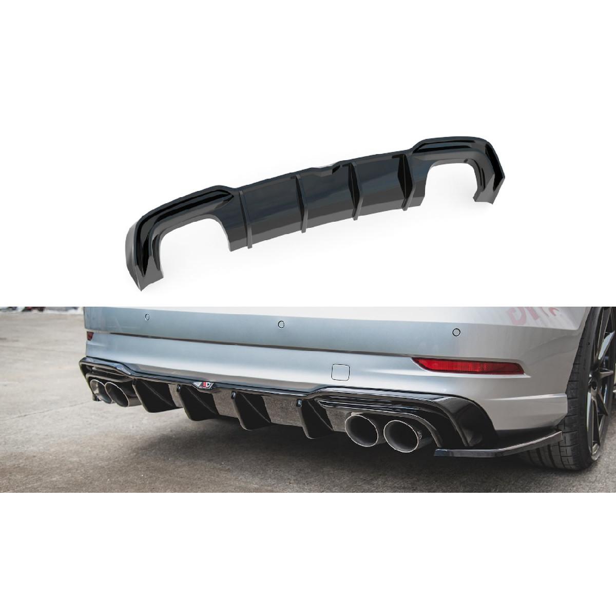 Heck Ansatz Diffusor für Audi S3 Limousine 8V Facelift schwarz matt