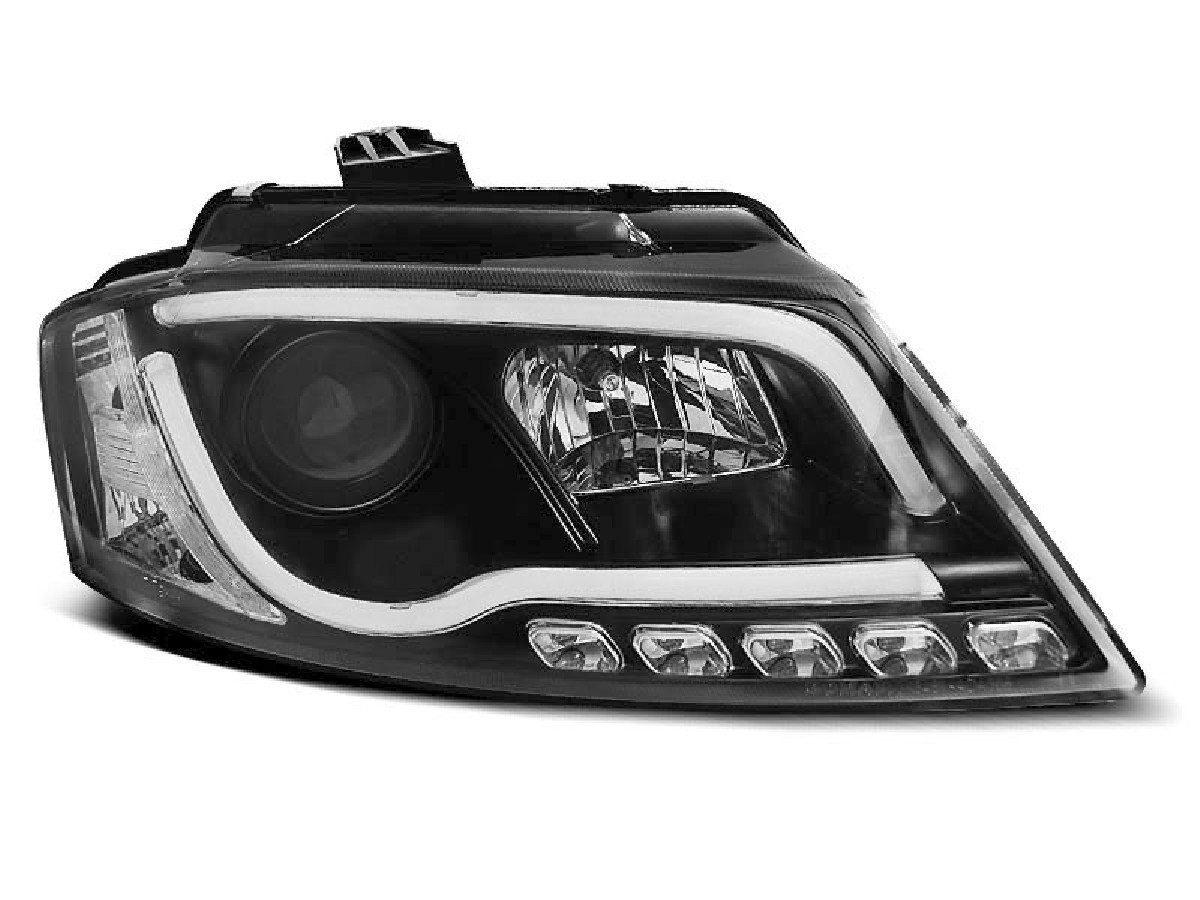 HEADLIGHTS TUBE LIGHT DRL BLACK fits AUDI A3 8P 08-12