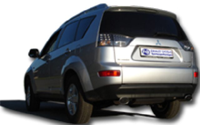 Mitsubishi Outlander CWO - Bj. ab 06 FOX Endschalldämpfer quer Ausgang rechts/links - 115x85