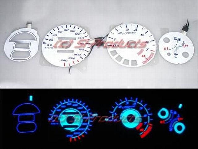 Honda CRX Del Sol 92-97 ESI Reverse Indiglo Gauges (KMH)