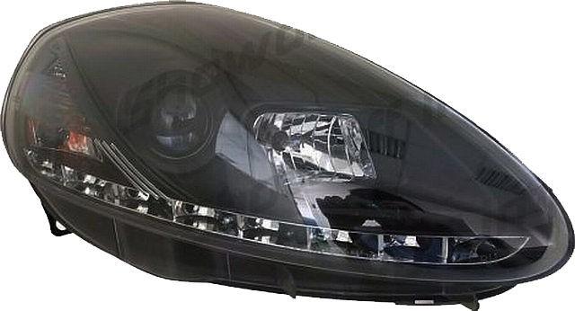 LED Tagfahrlicht Scheinwerfer Fiat Grande Punto 05-07 R8 Style Schwarz