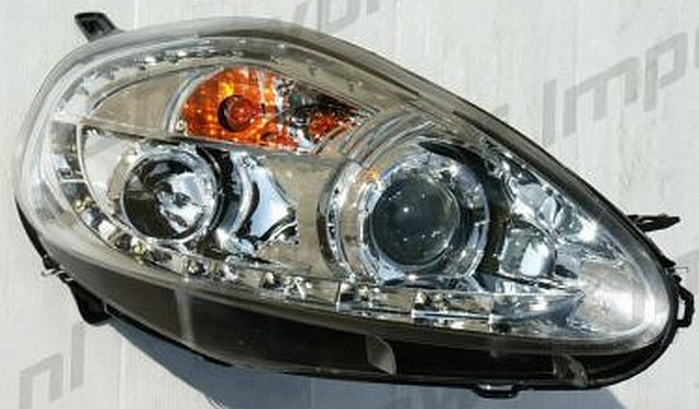 LED Tagfahrlicht Scheinwerfer Fiat Grande Punto 05-07 R8 Style Chrom V2