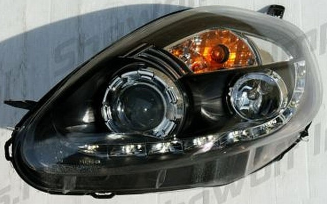 LED Tagfahrlicht Scheinwerfer Fiat Grande Punto 05-07 R8 Style Schwarz V2