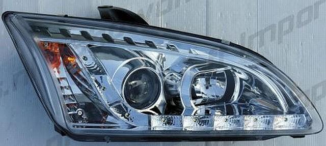 LED Tagfahrlicht Scheinwerfer Ford Focus mk2 05-08 R8 Style Chrom