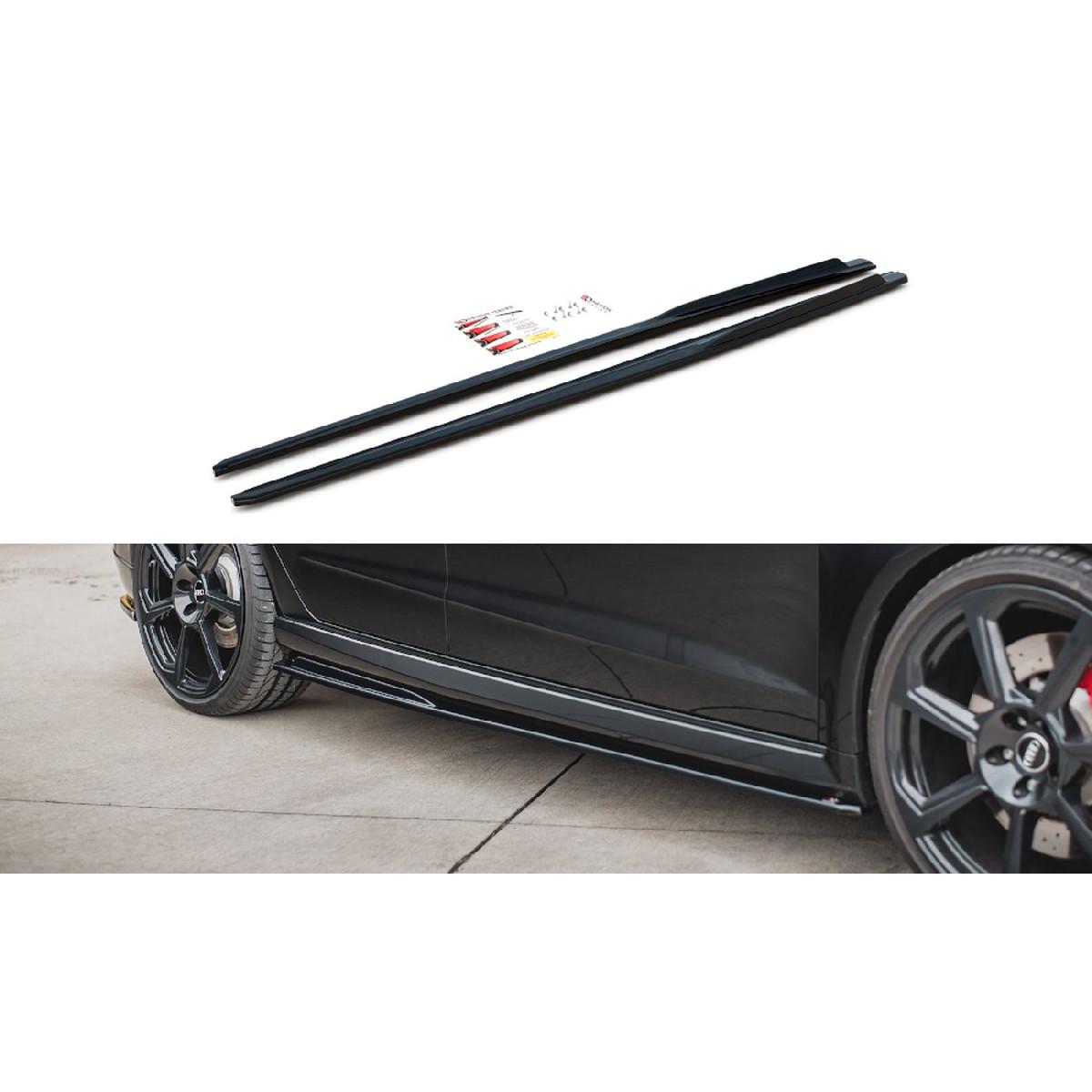 Seitenschweller Ansatz Cup Leisten V.2 für Audi RS3 8V Sportback Facelift schwarz matt