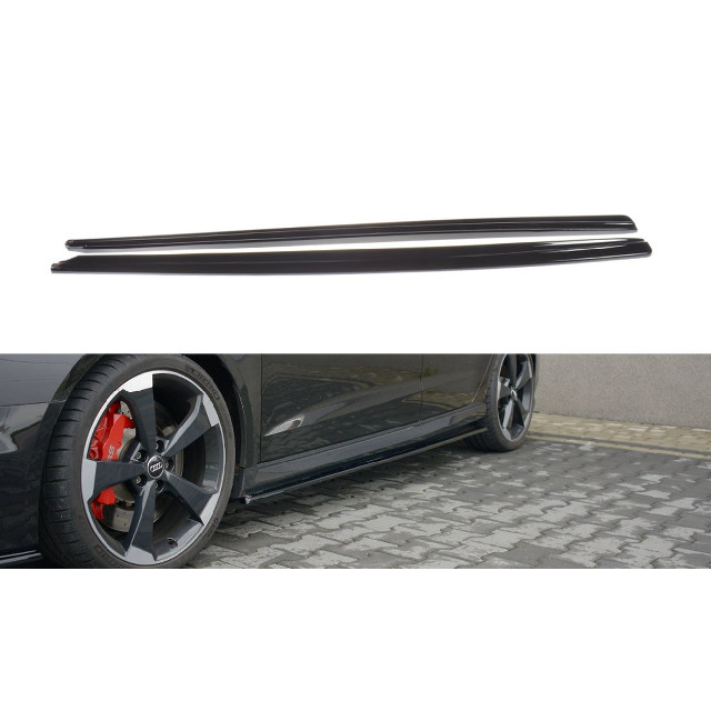 Seitenschweller Ansatz Cup Leisten für Audi RS3 8V FL Sportback schwarz matt