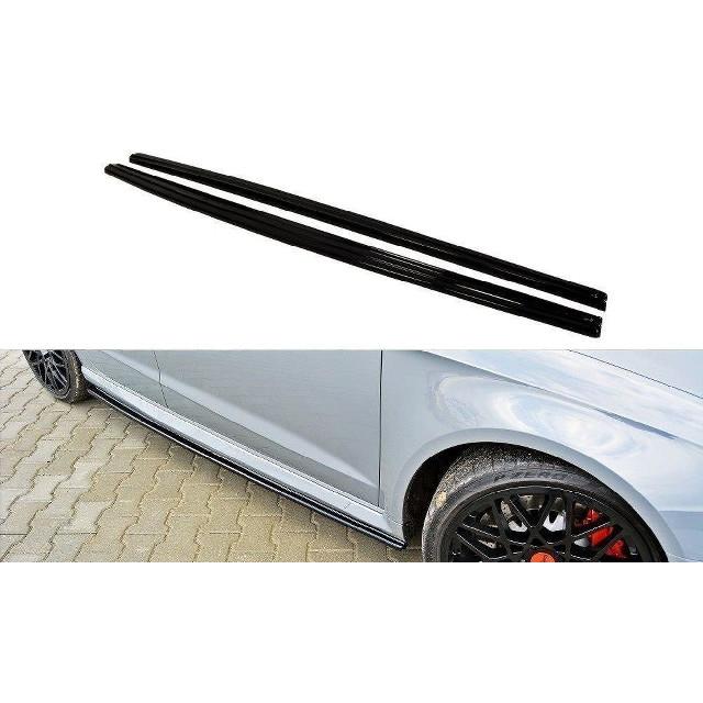 Seitenschweller Ansatz Cup Leisten für Audi RS3 8V Sportback schwarz matt