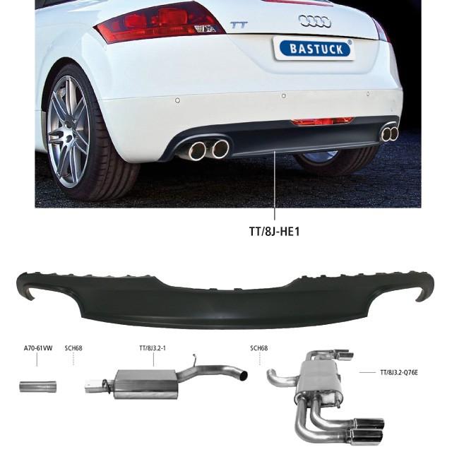 Bastuck Edelstahl Komplett-Auspuffanlage Audi TT 8J 3.2l V6, inkl. Heckeinsatz