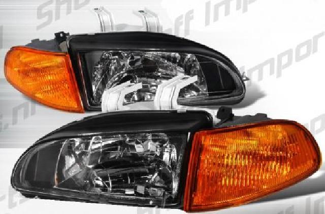 Honda Civic 92-95 4D Black Headlights + Amber Corners