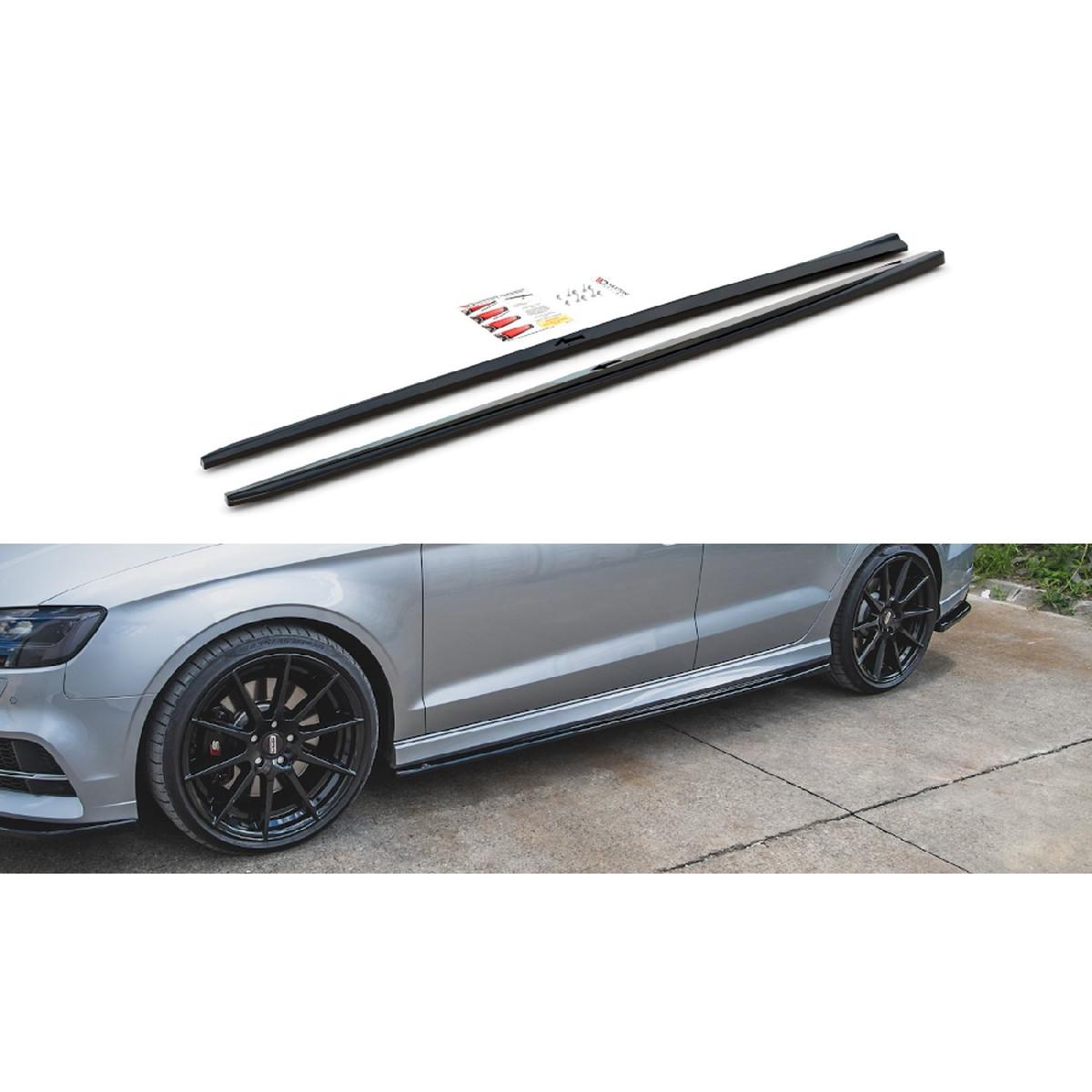 Seitenschweller Ansatz Cup Leisten V.2 für Audi S3 / A3 S-Line Limousine 8V Facelift schwarz matt