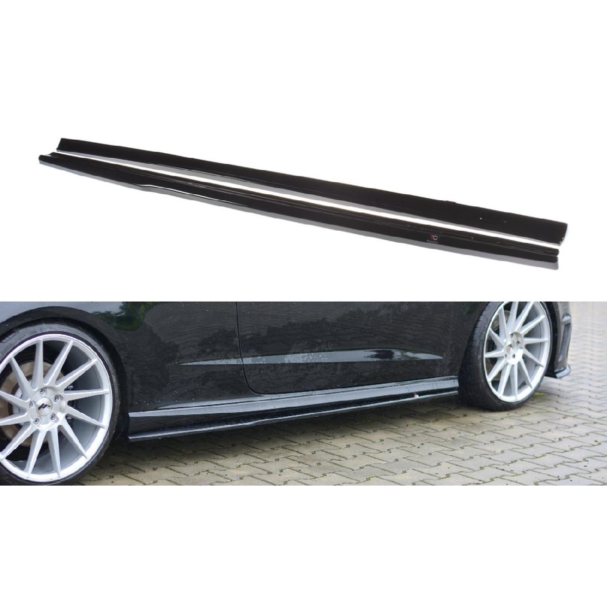 Seitenschweller Ansatz Cup Leisten für Audi S3 / A3 S-Line 8V / 8V FL Hatchback schwarz matt