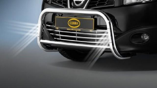 Frontbügel Edelstahl mit LED Tagfahrlicht  60 mm für Nissan Qashqai & Nissan Qashqai +2