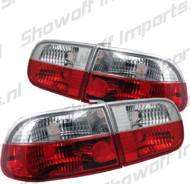Honda Civic 92-95 3D Hatchback Red/Clear G4 Taillights