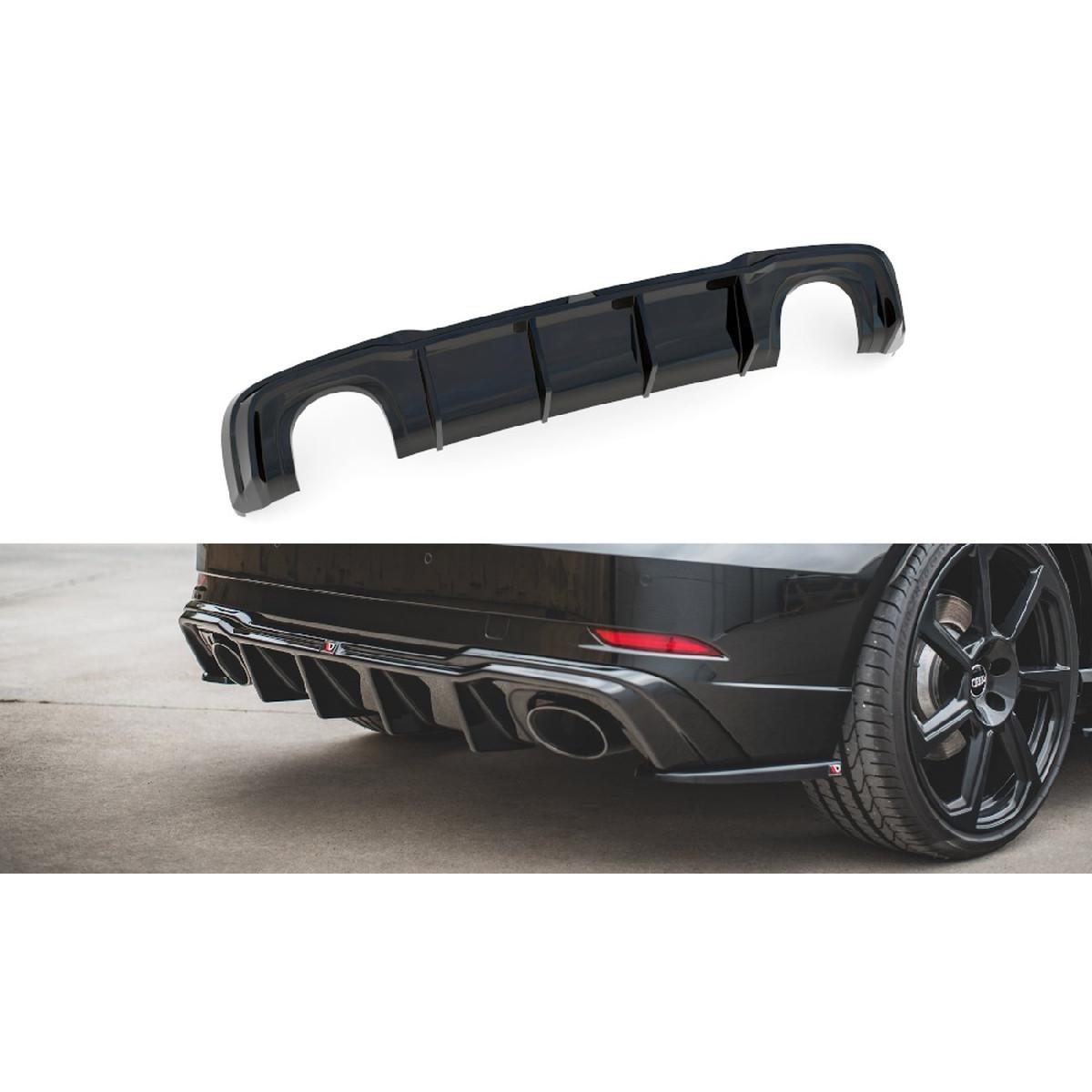 Heck Ansatz Diffusor V.2 für Audi RS3 8V Sportback Facelift schwarz matt