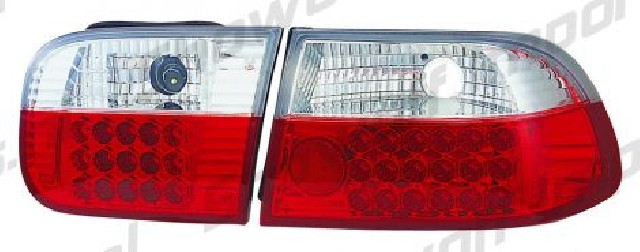 Honda Civic 92-95 3D Hatchback Red/Clear G4 LED Taillights