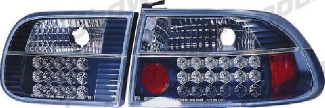 Honda Civic 3D HB 92-95 Black G4 LED Taillights