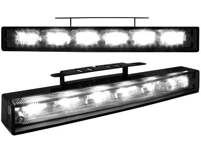 Tagfahrlicht mit 6 hipower LED 220x29x43(max)30(min) black