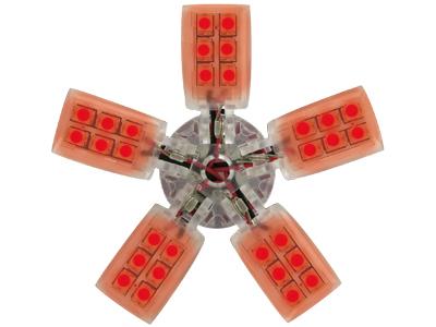 Spider Bulb BAY15D rot mit 5 Armen und 40 LEDs 5 W/21 W