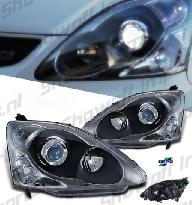 Honda Civic 01-05 3D Clear Facelift Look Headlights H1/HB3