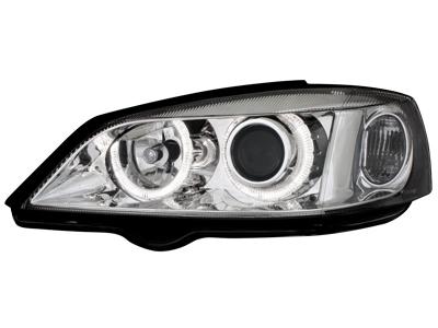 Scheinwerfer Opel Astra G 98-04 2 Standlichtringe chrome