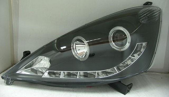 R8 Style LED Tagfahrlicht Scheinwerfer Honda Jazz 08-11 Schwarz V1