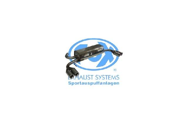 FOX VW Bus T4 Syncro  Endschalldämpfer quer Ausgang rechts/links inkl. Verbindungsrohr mit Halter - 2x76 Typ 13 rechts/links